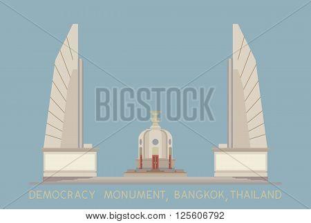 vector of Democracy Monument on blue background Bangkok Thailand
