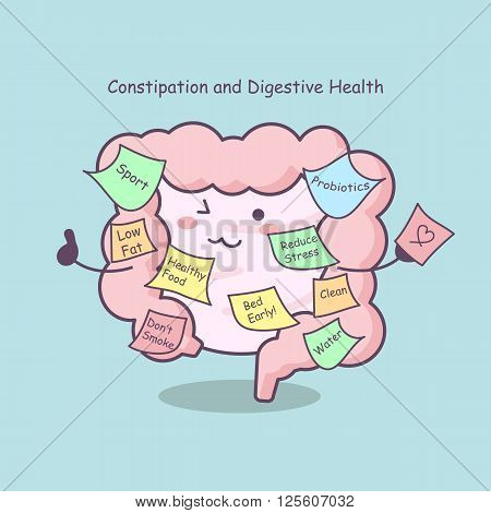 cute cartoon intestine with reminder great for health care concept