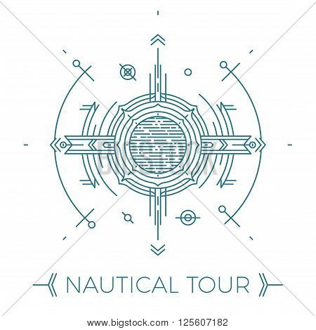 Modern thin line nautical illustration. Outline sea tour logo. Simple mono linear abstract navy design. Stroke vector hipster concept