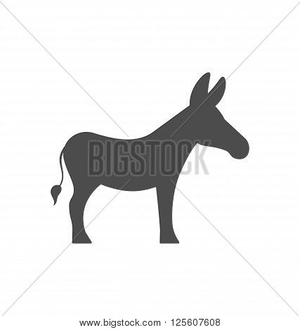 Illustration Donkey Silhouette Isolated on White Background - Vector