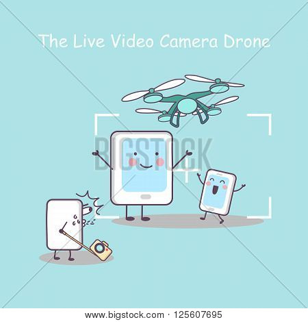 cute cartoon live video cameradrone with smartphone take a photo great for your design