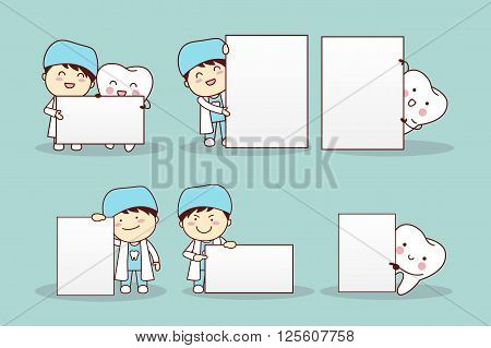 cartoon tooth with billboard great for your design