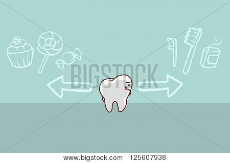cute cartoon tooth think confused between health and sweet doodle great for health dental care concept