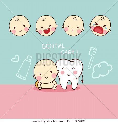 cute cartoon tooth with baby great for dental care concept design