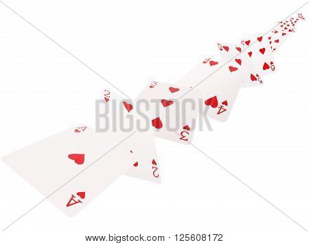 The combination of playing cards. hearts .on a white background.