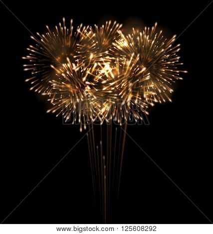 Illustration Festive Grandiose Firework Explode Bursting Sparkling on Black Background - Vector