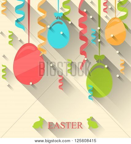 Illustration Easter Background with Colorful Eggs and Serpentine, Trendy Flat Style with Long Shadows - Vector