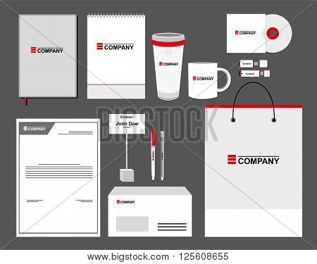 Corporate identity template set. Business stationery mock-up with logo. Branding design. Letter envelope card pen pencil paper cup notebook letterhead and other elements