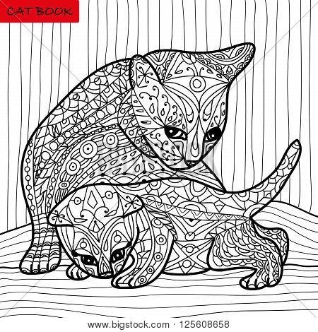 Cat mother and her kitten - coloring book for adults - zentangle cat book hand drawn vector illustration