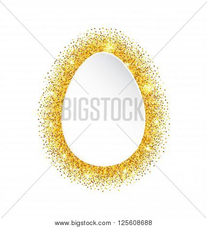 Illustration Abstract Happy Easter Golden Glitter Egg. Gold Sparkles on White Background - Vector