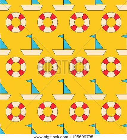 Illustration Seamless Pattern with Sea Elements Sailboats and Lifebuoy. Can be Used for Wallpapers - Vector