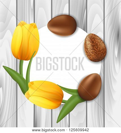 Illustration Greeting Card with Easter Chocolate Ornamental Eggs and Yellow Tulips Flowers on Wooden Background - vector