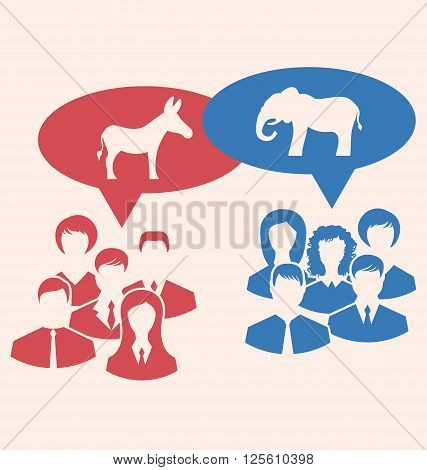 Illustration Concept of Debate Republicans and Democrats. Donkey and Elephant as a Symbols Vote of USA. Retro Style Design - Vector