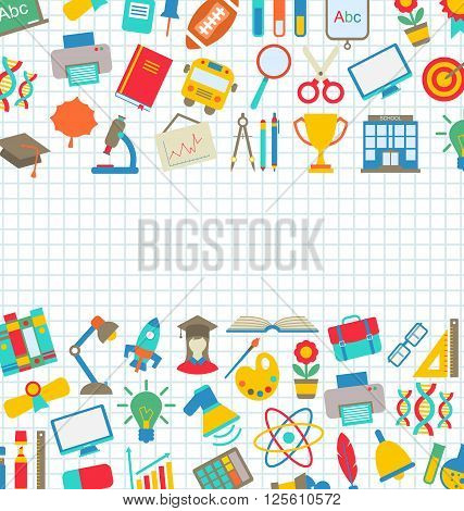 Illustration Collection of School Colorful Icons, Wallpaper for School - Vector