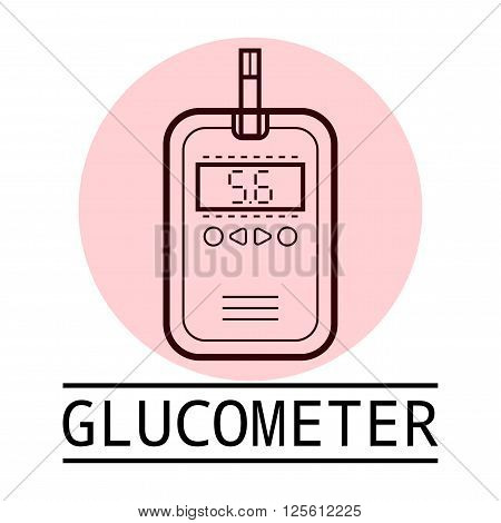 Medical icon, logo. Linear glucometer isolated on white background.