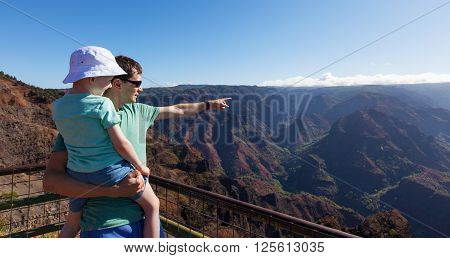 panorama of family enjoying waimea canyon at kauai island hawaii from the viewpoint