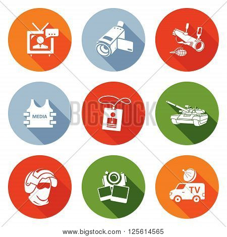 Risk of journalism in war Icons Set. Vector Illustration. Isolated Flat Icons collection on a color background for design