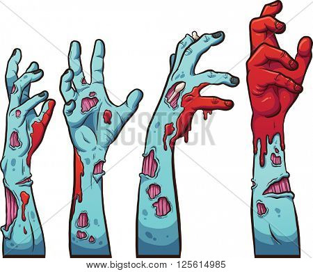 Cartoon zombie hands. Vector clip art illustration with simple gradients. Each on a separate layer.