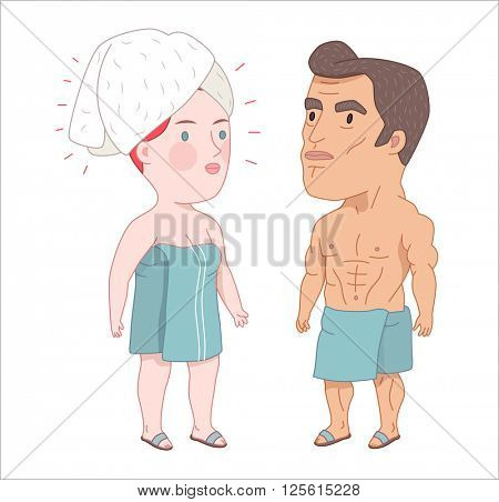 After shower, flat cartoon vector illustration, a man and a red haired woman  both wrapped into the towels standing next to each other, a part of Dodo people collection