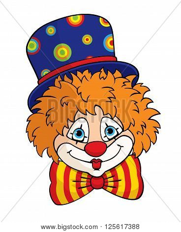 Vector portrait of a cute cartoon clown in a blue top hat and striped bow tie. Colorful illustration for children. Isolated on white.