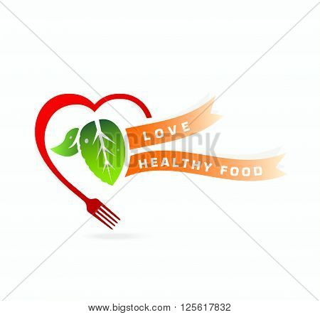Love healthy food concept . Heart fork concept