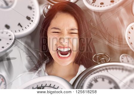 Screaming woman against black background