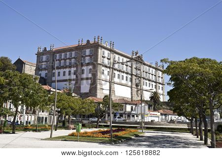 VILA DO CONDE, PORTUGAL - September 20, 2015: The Monastery of Santa Clara seen from the Republic Square on September 20, 2015 in Vila do Conde, Portugal