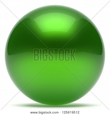 Ball green sphere geometric shape round button basic circle solid figure simple minimalistic element single shiny glossy sparkling object blank balloon icon. 3d render