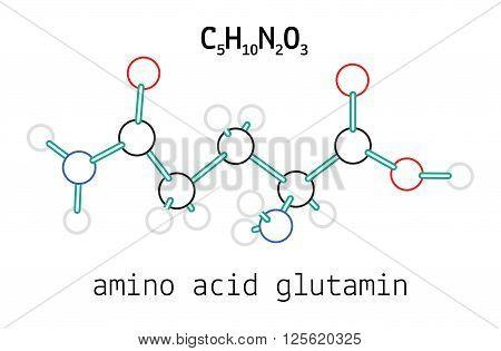 C5H10N2O3 glutamine 3d amino acid molecule isolated on white