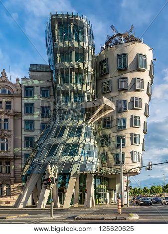 Prague Czech Republic - May 11 2014: The Dancing House Prague Czech Republic Europe. Others have nicknamed it