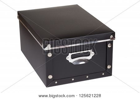 Black storage box on a white background
