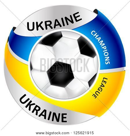 Ukraine football icon / label, containing a soccer ball and the ukrainian flag