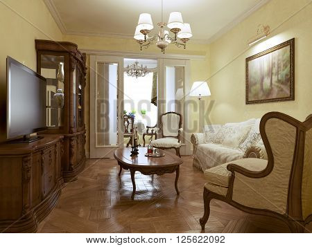 Living room english style with elegant furniture. 3d render