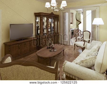 Cozy living room with access to kitchen. 3d render