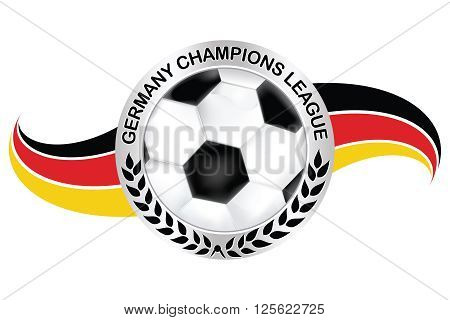 Germany champions league label with soccer ball and German flag. Print colors used