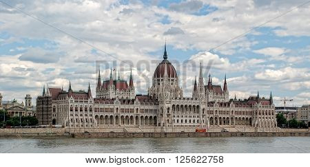 View of Hungarian parliament in Budapest, Hungary