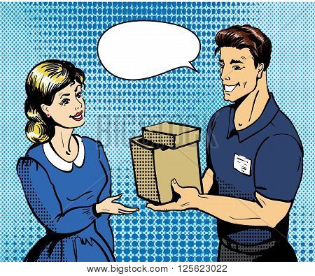 Pop art delivery concept vector illustration. Delivery man handing box to woman.