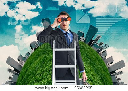 Businessman looking on a ladder against painted sky