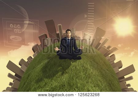 Calm businessman sitting in lotus pose against magical sky