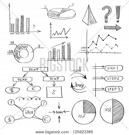 Business doodle sketch set: infographics elements isolated on white. Collection of icons: graphs, stats. Vector illustrations.