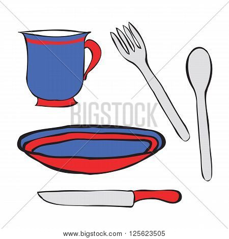 Tableware cartoon vector colored. A simple spoon, a plate, fork, knife and Cup. Table setting contours.