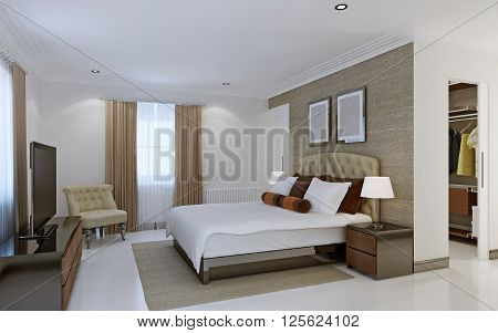 Bright bedroom with dressing room. 3d render
