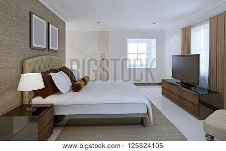 Comfortable bedroom in avant-garde style. 3d render