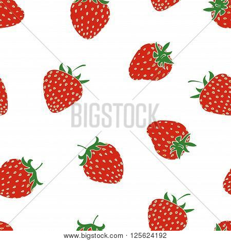 Strawberry seamless pattern. Colorful vector background with berries isolated on white.