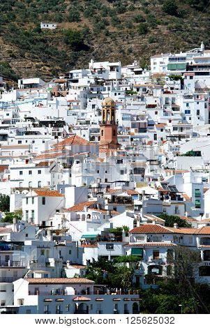 View of the town with the The Assumption (La Asuncion) church tower to the centre Competa Malaga Province Andalucia Spain Western Europe.