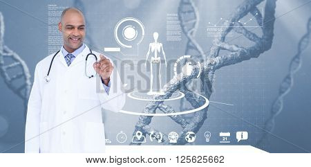 Smiling male doctor touching invisible screen against view of dna
