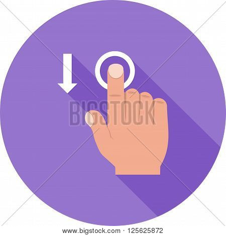 Move, tap, down icon vector image.Can also be used for user touch gestures. Suitable for mobile apps, web apps and print media.