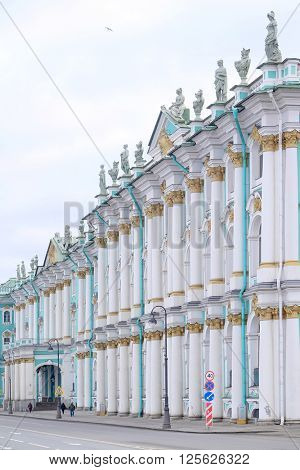 St. Petersburg, Russia - March, 13, 2016: The building of Hermitage and Winter Palace in St. Petersburg, Russia