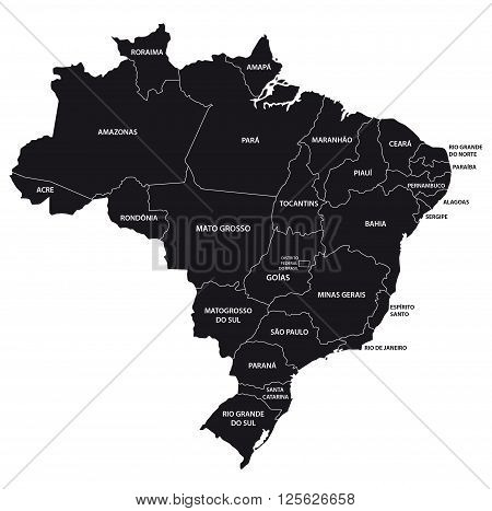 brazil administrative map in black and white