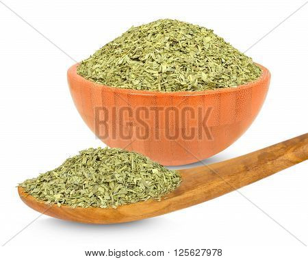spice tarragon in a bowl isolated on white background